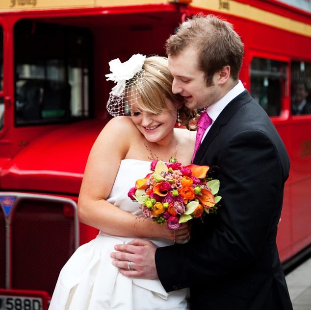 London routemaster wedding photo