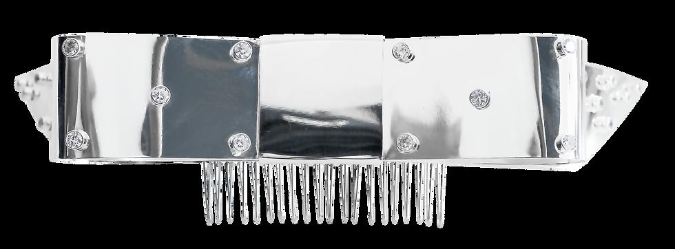 Peineta Plata con Zirconia Blanca