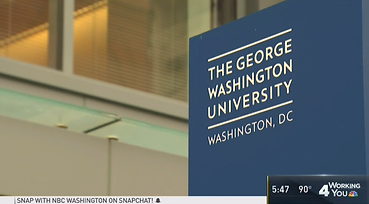 Screen Shot of NBC4 Video With the Image of the Sign at The George Washington Univeristy in Washington, DC