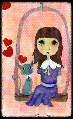 big eyed whimsical girl, big eyed whimsical cat, swing, heart