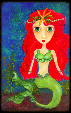 Big eyed whimsical girl and mermaid