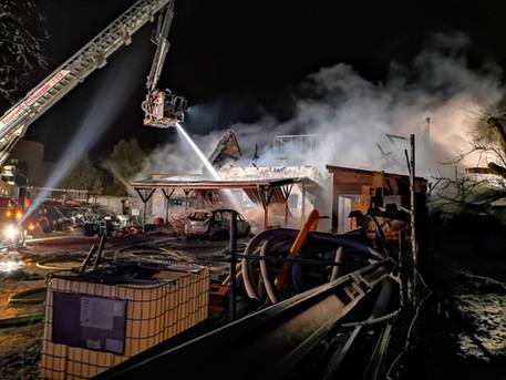 Brand einer Scheune in Doberlug am 9.1.19 - Bericht der LR