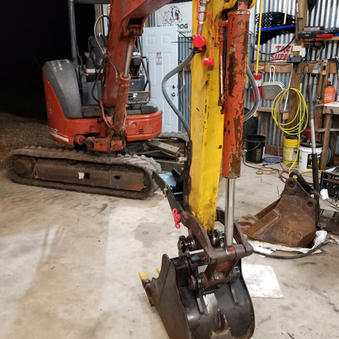 "18"" bucket and hydraulic thumb on our big mini excavator"