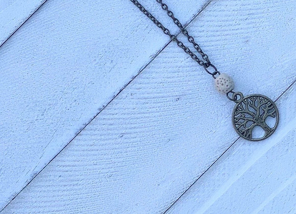 Brass Chain, White Lava Bead & Tree of Life Diffuser Necklace