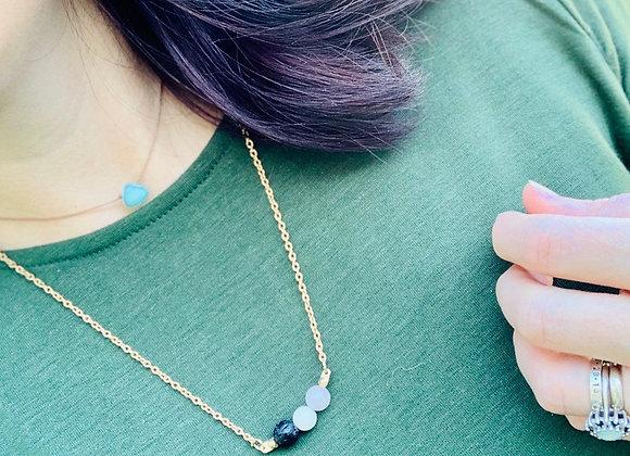 Rose Quartz, Howlite and lava bead diffuser necklace