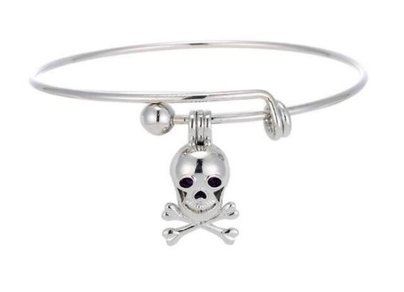 Skull and Crossbones Bangle Diffuser Bracelet