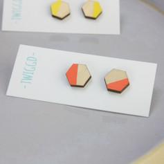 Colour Pop Studs Orange & Yellow