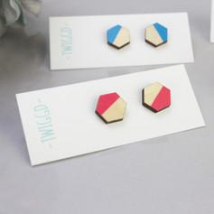 Colour Pop Studs - Pink & Blue