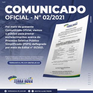 Comunicado nº 02/2021 -  Alteração no cronograma relativo à prova escrita/prática do PSS 01/2021