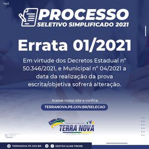 Errata 01/2021 do Processo Seletivo Simplificado.