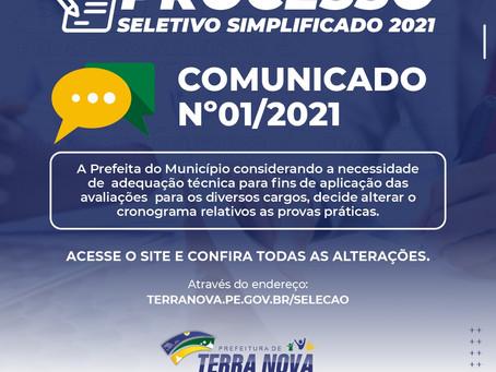 Comunicado nº 01/2021 - Alteração do cronograma das provas práticas do processo seletivo