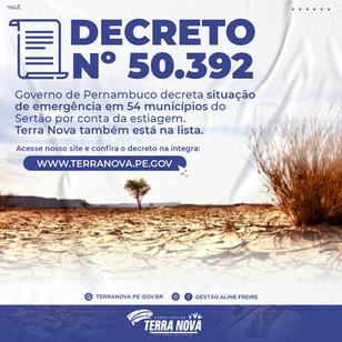 Decreto Nº 50.392 - Governo decreta situação de emergência no Sertão do Estado por estiagem.