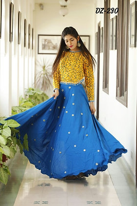 Yellow and Blue  long gown Dress