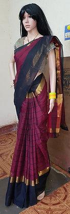 Pink and Black Uppadda Cotton Saree