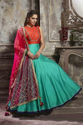 Embroidered Art  Silk Anarkali Suit