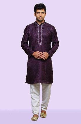 purple kurthi with white pant