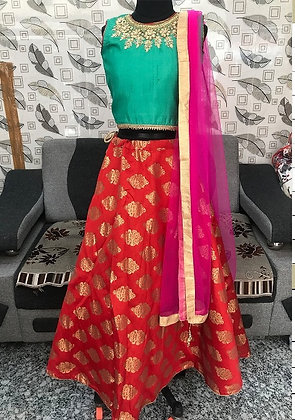 Green Top with Red Lehenga & pink Duptta