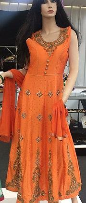 Orange Colour party Wear Dress