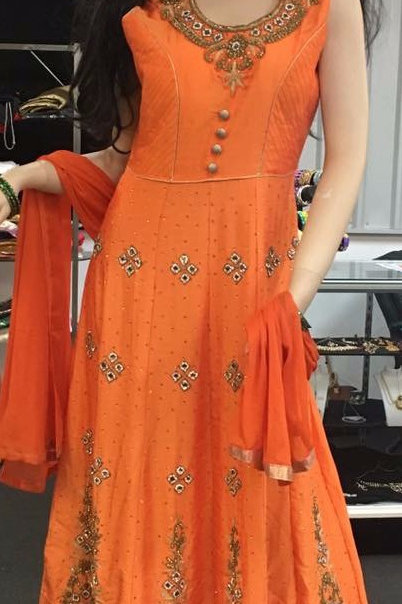 Orange Colour party Wear Dress