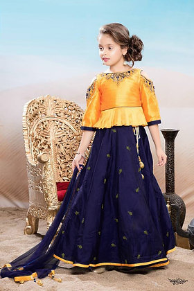 Orange Top with Nevy Blue Lehenga