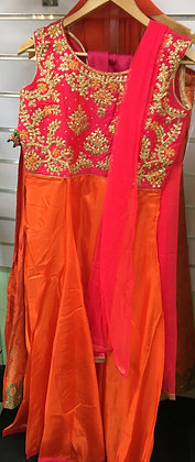 Pink and Orange Long Gown