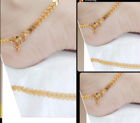 Leaf Shaped Gold Anklets