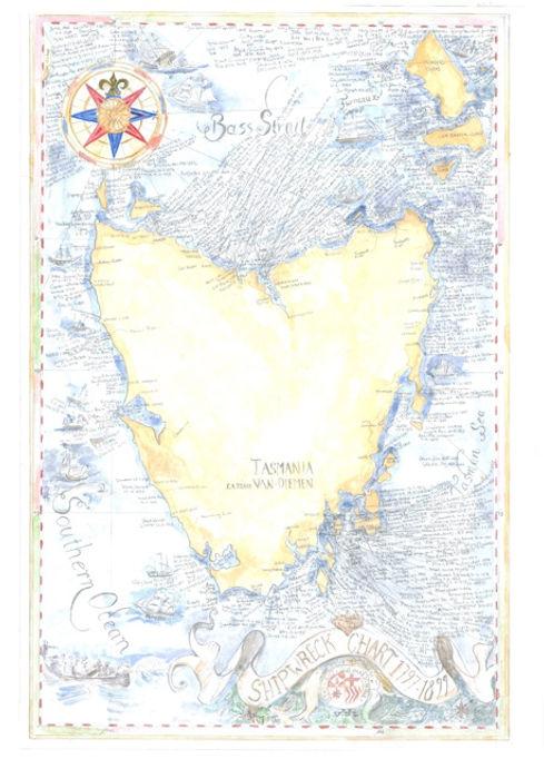 Tasmania shipwreck chart
