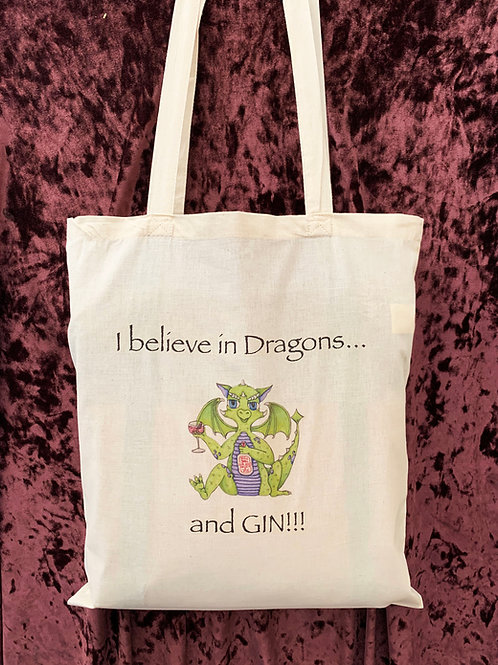 "Dragon Tote Bag (""I believe in Dragons and Gin"")"