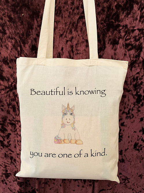 """Unicorn Tote Bag (""""Beautiful is knowing you are one of a kind"""")"""