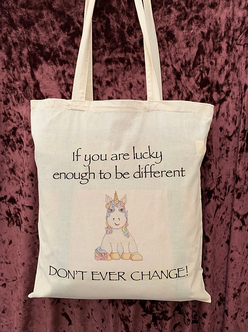 "Unicorn Tote Bag (""If you are lucky enough to be different DON'T EVER CHANGE!"")"