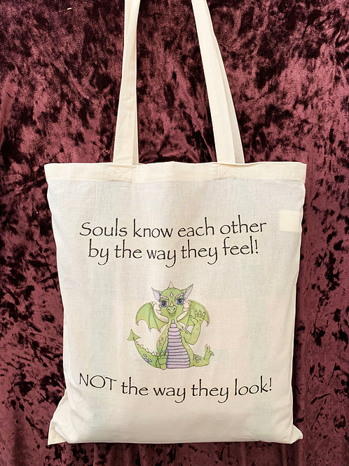 """Dragon Tote Bag (""""Souls know each other by the way they feel!..."""")"""