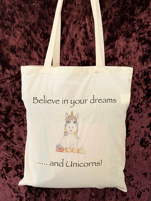 """Unicorn Tote Bag (""""Believe in your dreams... and Unicorns"""")"""