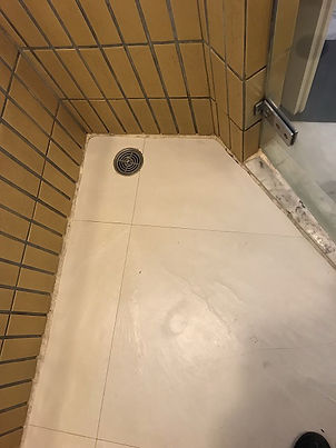 Ugly bulky old grout in shower before (6