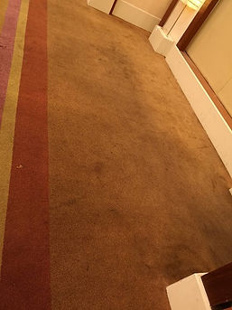 Heavily soiled ballroom carpet doorway e