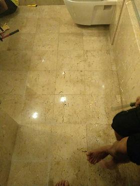 Dirty old bathroom marble floor before.J