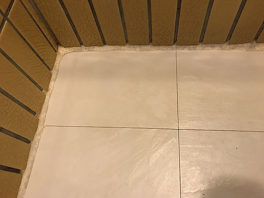 Ugly bulky old grout in shower before (5