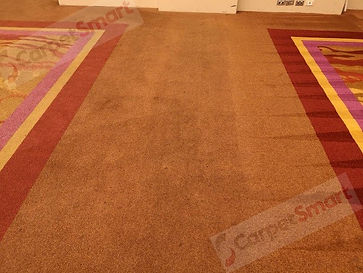 Dirty ballroom carpet with visible befor