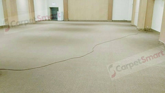 Dirty meeting room after carpet cleaning