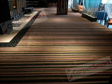 Restaurant dirty carpet after cleaning w