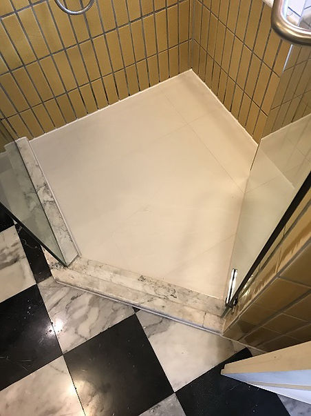 Ugly bulky old grout in shower after (12