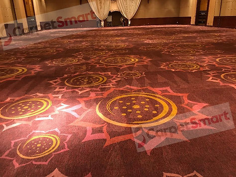 Dirty ballroom carpet after cleaning wm.