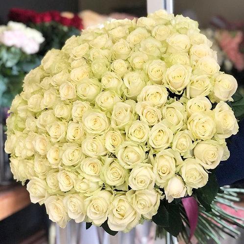 101 белая роза (60см)
