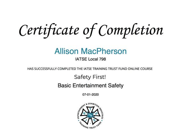 IATSE Basic Entertainment Safety Certification