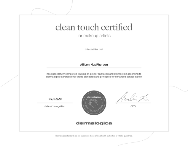 Dermalogica Clean Touch for Makeup Artists Certification