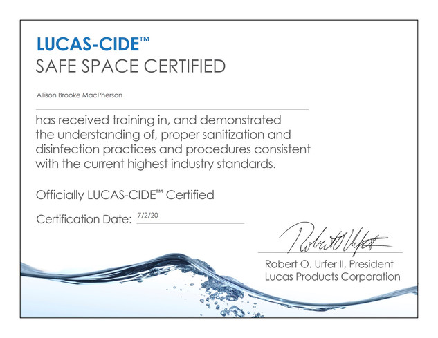Lucas-Cide Safe Space Certification