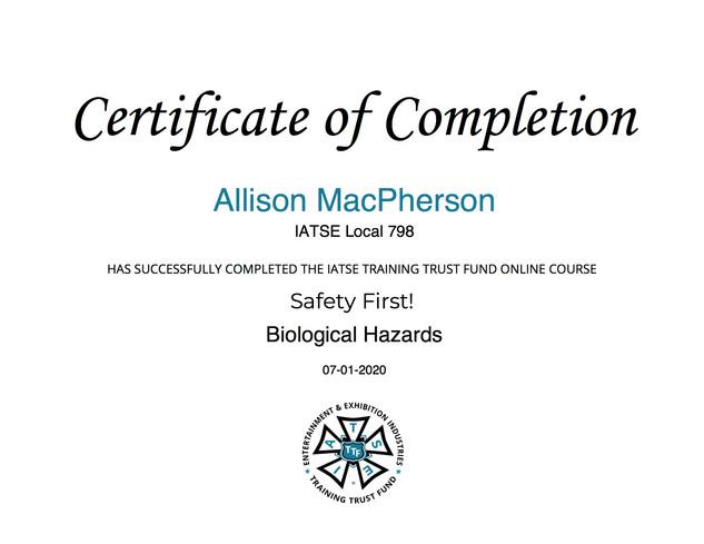 IATSE Biological Hazards Certification