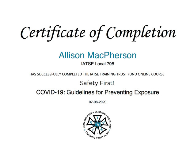 IATSE Guidlines for Preventing Exposure Certification