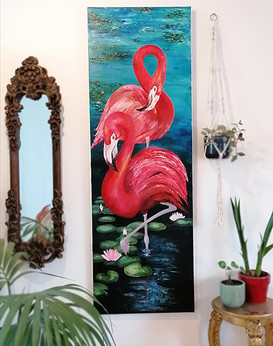 Flamingos and water lilies