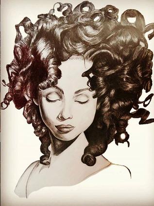 Frau mit dem lockigem Haar