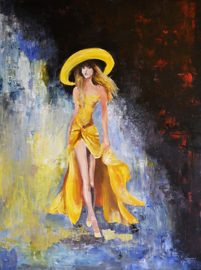 Frau in Gelb